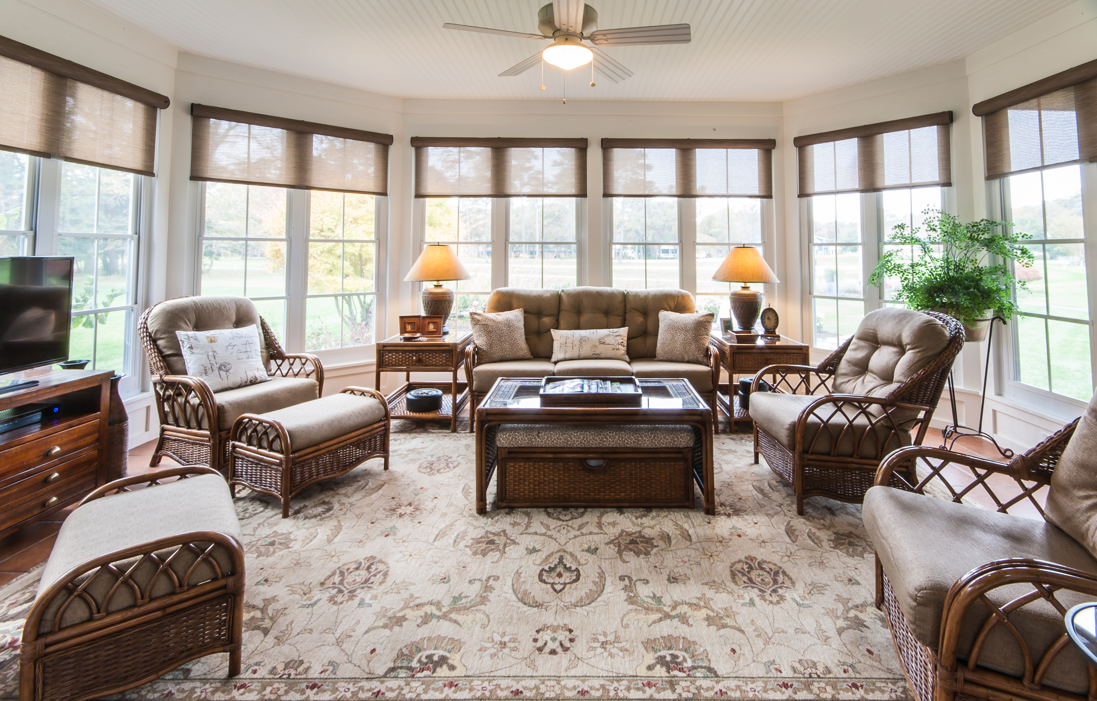 Vinyl windows are affordable and pull together a 3 season room.